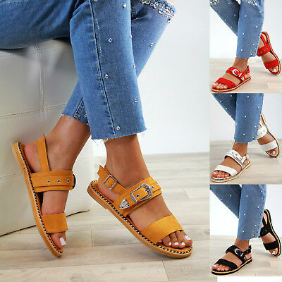 729e21cebde68 New Womens Flat Sandals Buckle Ankle Strap Comfy Holiday Summer Shoes Sizes  3-8