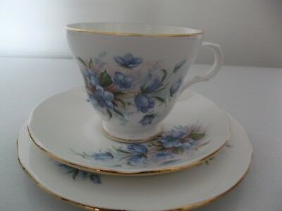Vintage Crown Trent Trio Bluebells - Cup Saucer & Plate Staffordshire, England