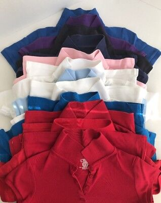 GIRLS School Uniform 15 Shirts Polo Collared Tops LOT Size Medium 7 8 9 10