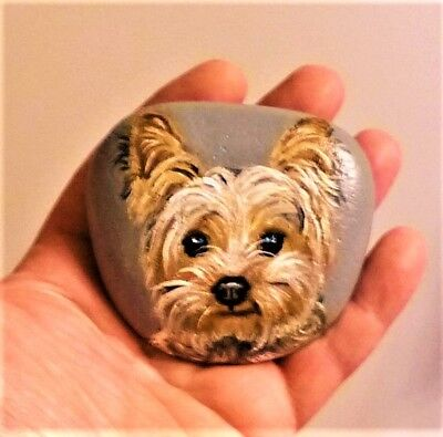 Original Hand Painted Yorkie Dog On River Rock