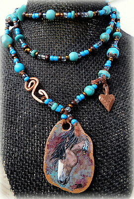 Sale Long Western Turquoise Necklace Painted Horse Art Leather Native Jewelry