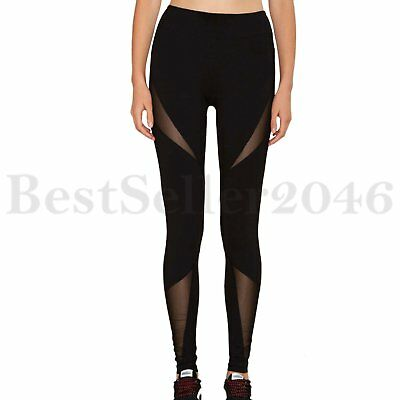 Women Mesh Yoga Stretch Leggings Sport Fitness Gym Workout Running Pants Trouser