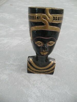 Queen of the Nile Cleopatra Bust Sculpture Egyptian Pharaoh Statue Metal E4