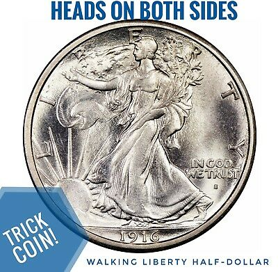 Two Sided 1916/1917 Walking Liberty Half Dollar Double Headed Two Face Coin