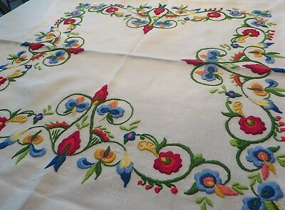 Beautiful Vintage Heavily  Embroidered Linen Tablecloth~Bright Colors 48x48