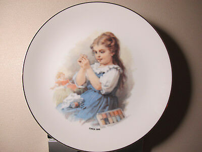 Coats & Clark Limited Edition Gift 1988 Plate #1 of A Series Girl Sewing Thread