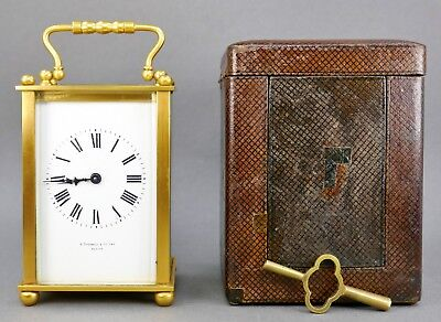 Fine Antique French Gold Gilt A. Stowell Boston Carriage Clock & Leather Case