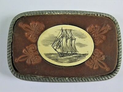 Vintage Pewter Leather Belt Buckle with Etched Sailboat Ship Inlay 682