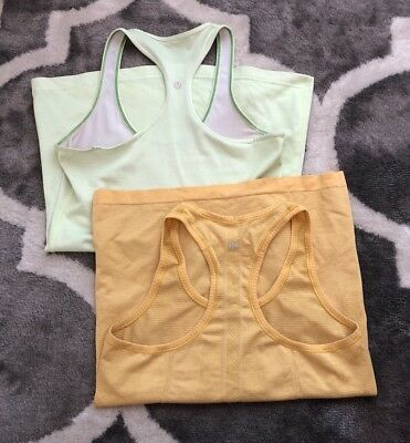 Lot Of 2 Womens Lululemon Athletica Yellow Green Tank Top Active Workout 8