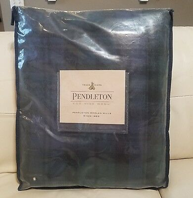Pendleton Eco-Wise Wool Twin Blanket Black Watch Tartan Washable Plaid NEW