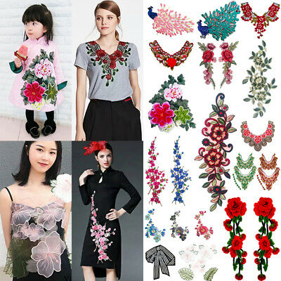 Embroidered Flower Floral Applique Sew On Patch Patches Clothing Peony Rose DIY