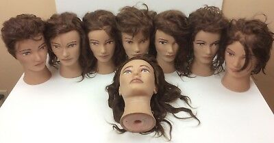 Lot of 8 Pivot Point Cosmetology Mannequin Hairdressing Stylist Female Heads #1