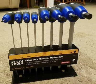 Klein Tools Metric Hex Key T Handle Set Stand 8 Piece Keys Driver Hand Tool Kit
