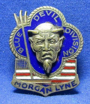 WWII Theater Made 88th Infantry Blue Devil Division DI Unit Pin by Vdine RARE