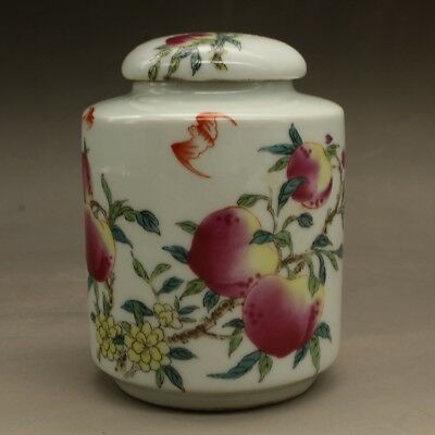 China antique Porcelain qing famille rose hand painting peach Bat Tea Caddies