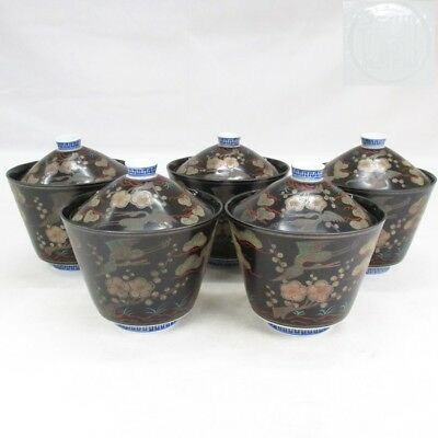 D212: Japanese old porcelain five covered bowls of rare tone with good painting