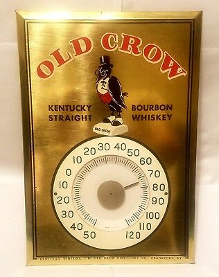 RARE Vintage OLD CROW Bourbon KY Whiskey Thermometer Permanent Sign Co. USA Orig