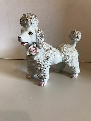 Vintage 1950s White with Rose Ceramic Spaghetti Poodle