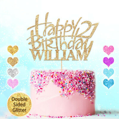 Happy Birthday Cake Topper Personalised Glitter Decor Custom Any Name Word Age