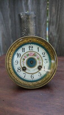 french mantle clock movement porcelain floral seves style  dial parts repairs