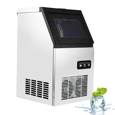 110Lbs Commercial Ice Maker Cube Machines Ice Sterilizer Freestanding 330W