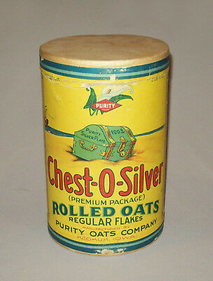 Scarce antique vtg 1930s Chest O Silver Rolled Oats Cardboard Box Can 2 Lb Nice