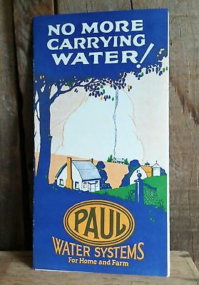 Vintage Paul Water Systems fold-out advertising brochure, probably 1940ish
