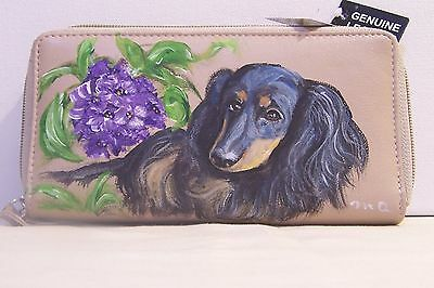 Hand painted Dachshund great american genuine leather ckeckbook wallet