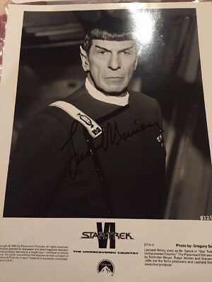 Leonard Nimoy Autograph Singed Press Photo Star Trek VI Paramount Pictures