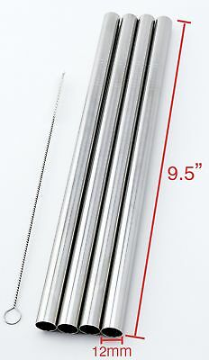 "4 SUPER WIDE Stainless Steel 9.5"" Long x 1/2"" Wide Drink Straw Smoothie Thick"
