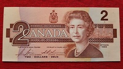 1986 CANADA Canadian Two Dollar Bill Note Uncirculated-Crisp
