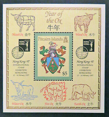 1997 Pitcairn Islands - Year of Ox-Hong Kong Int'l Stamp Exhibition-M/Sheet MNH