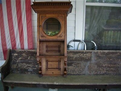 antique very rare and extremely nice quartersawn oak barber cabinet large& fancy