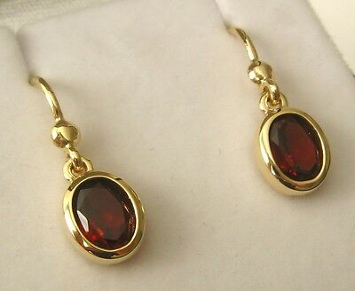 8x6 GENUINE 9K 9ct SOLID Gold  NATURAL GARNET HOOK DROP DANGLE EARRINGS