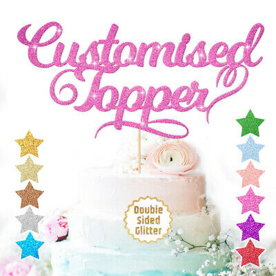 Birthday Cake Topper Any Word Name Personalised Customised Double Sided Glitter