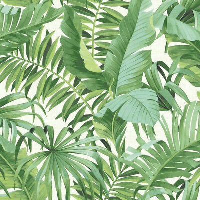 Green & White Alfresco Palm Leaf Tropical Wallpaper - NEW! 10m Roll