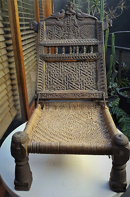 Vintage Swat valley tribal low chair - Indian Pakistan