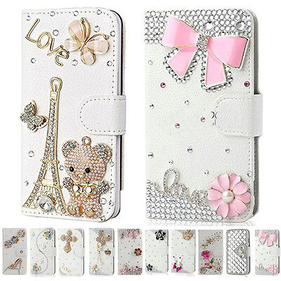 UK Bling Diamond Leather Wallet Case Flip 360 Cover for iPhone 6S 7 Plus XS Max
