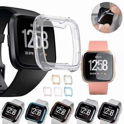 Rubber Frame Case Cover Tempered Glass Screen Protector Guard for Fitbit Versa