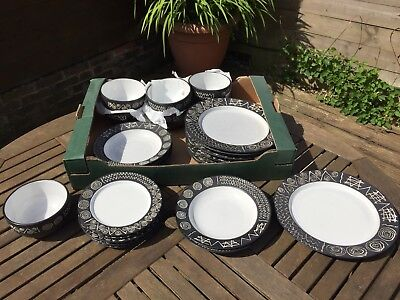 Scraffito Plates, Soup And Pastal Bowls. 25 Pieces