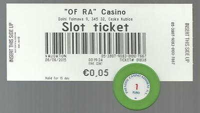 ADMIRAL Casino of RA Slot Ticket + 1 Euro Casino Chip from 2015 Cashout Voucher