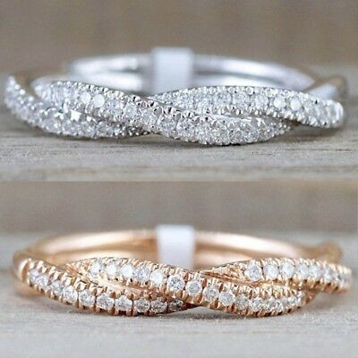 Women Elegant Solid Rose Gold Stack Twisted Ring Wedding Party Lady Jewelry Gift