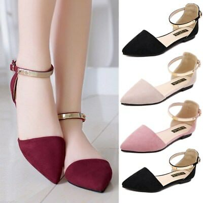 1401f8a0b New Ladies Womens Pointed Ballet Pumps Ankle Strap Ballerina Sandals Shoes  Flats