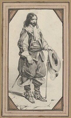 """Victor Adam:Man holding a cane and a hat mid–19th century-16x12""""(A3) Poster"""