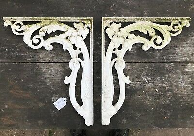 Large Antique Vintage Cast Metal Ornate Shelf Cistern Brackets Kitchen Bathroom