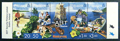 2001 Pitcairn Islands Stamps - The Art of Pitcairn-Woodcarving - Strip 4-Tab MNH