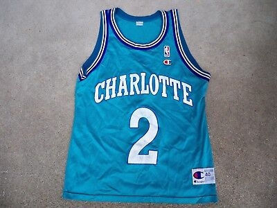 Vtg Champion Charlotte Hornets Larry Johnson NBA Basketball Uniform Jersey  40 9f2561a27