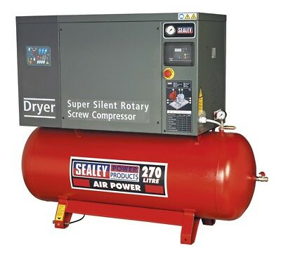 Sealey Air Screw Compressor 270ltr 10hp 3ph Low Noise with Dryer SSC12710D