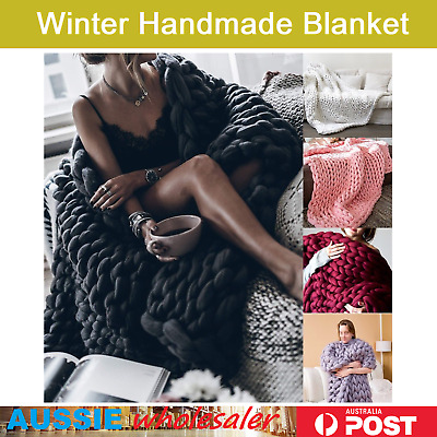Warm Chunky Knit Blanket Thick Yarn Throw Bulky Bed sofa Throws soft EXTRA Large