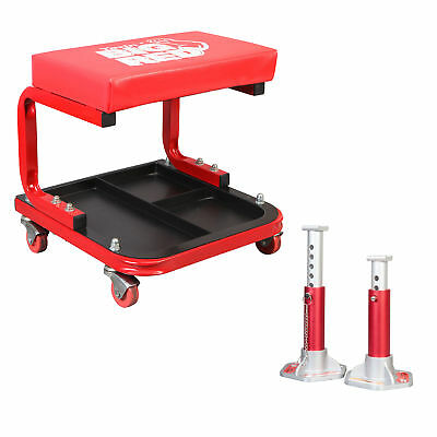 Black Torin Jack TR6100W Rolling Creeper Garage//Shop Seat Padded Mechanic Stool with Tool Tray Storage